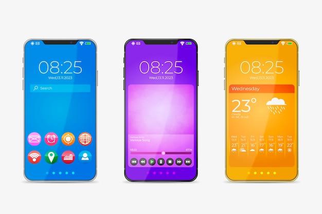アプリケーションを備えたスマートフォンの新しいモデルの現実的なデザイン 無料ベクター