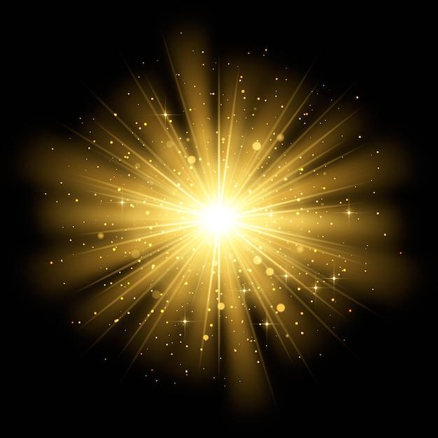 輝く日の出の光の効果 無料ベクター