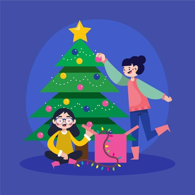 クリスマスツリーを飾る人々 無料ベクター