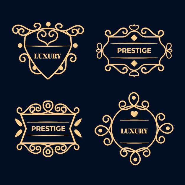 Роскошная коллекция ретро-логотипов Бесплатные векторы