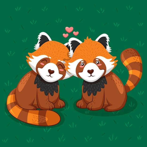 素敵なバレンタインデーの動物のカップル 無料ベクター
