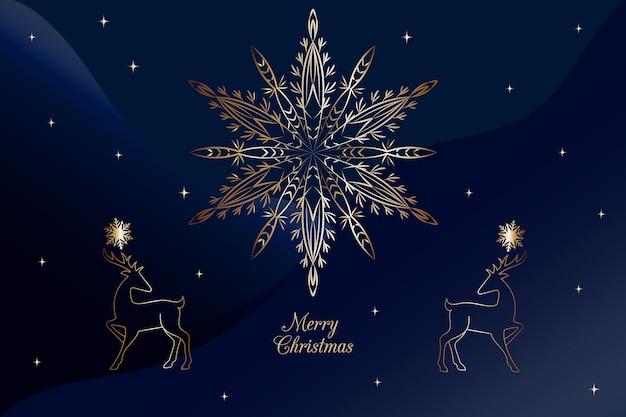 アウトラインスタイルのクリスマススノーフレーク花火青い背景 無料ベクター