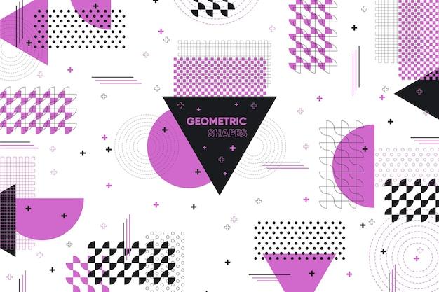Плоские геометрические фигуры фон и фиолетовый эффект мемфиса Бесплатные векторы