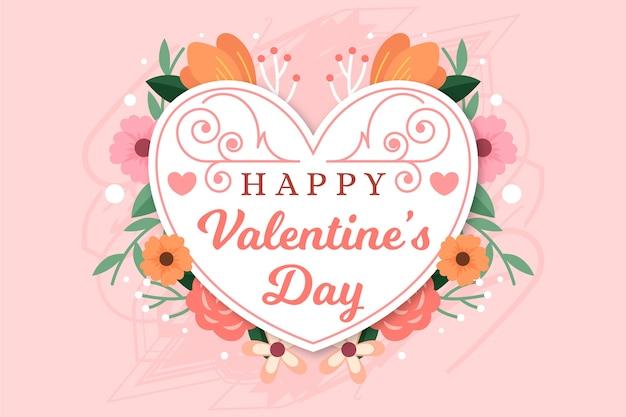 Цветочный плоский дизайн сердце для счастливого дня святого валентина Бесплатные векторы