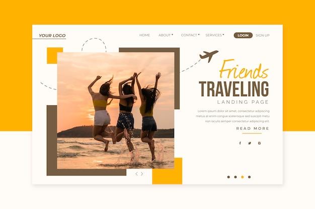 旅行のランディングページと画像 無料ベクター