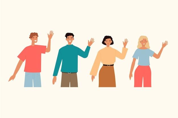 Молодые люди дают высокие пять Бесплатные векторы