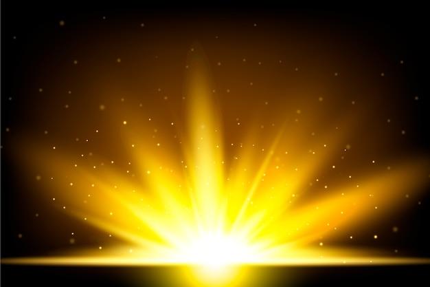 Красивый сверкающий световой эффект восхода солнца Бесплатные векторы