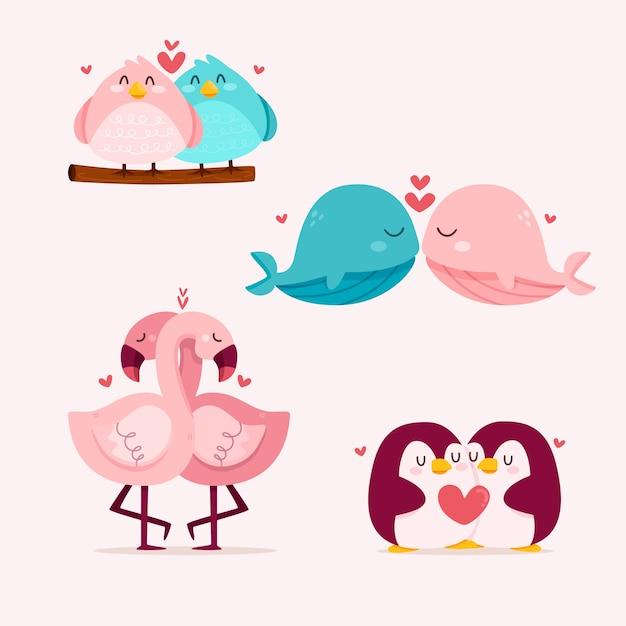 かわいいバレンタインの日の動物のカップル 無料ベクター