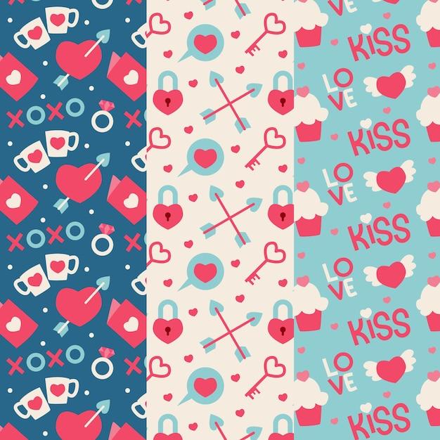 フラットなデザインのバレンタインパターンコレクション 無料ベクター