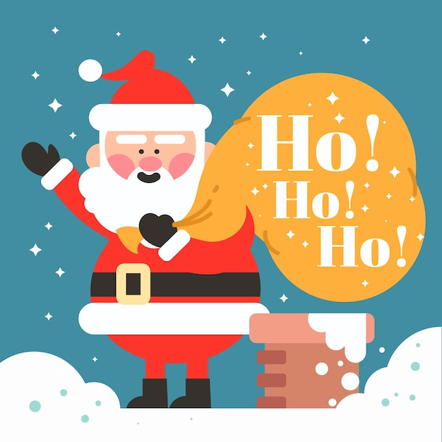 Рождество санта-клаус персонаж с буквами Бесплатные векторы