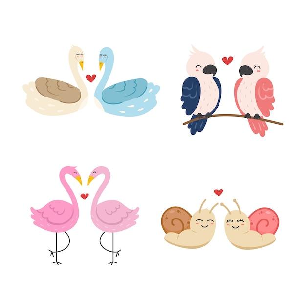 День святого валентина коллекция животных пара Бесплатные векторы