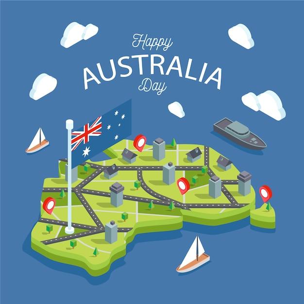 Карта австралии в окружении океанов Бесплатные векторы