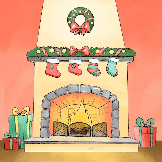 水彩でクリスマス暖炉シーンコンセプト 無料ベクター