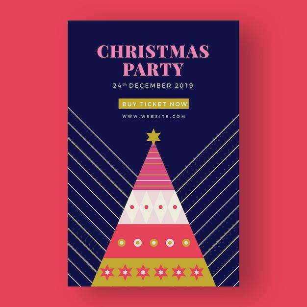 Рождественский постер шаблон с красочными геометрическими фигурами Бесплатные векторы