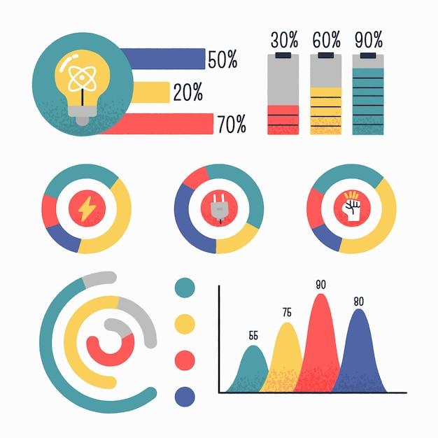 Ручной обращается инфографики элементы Бесплатные векторы