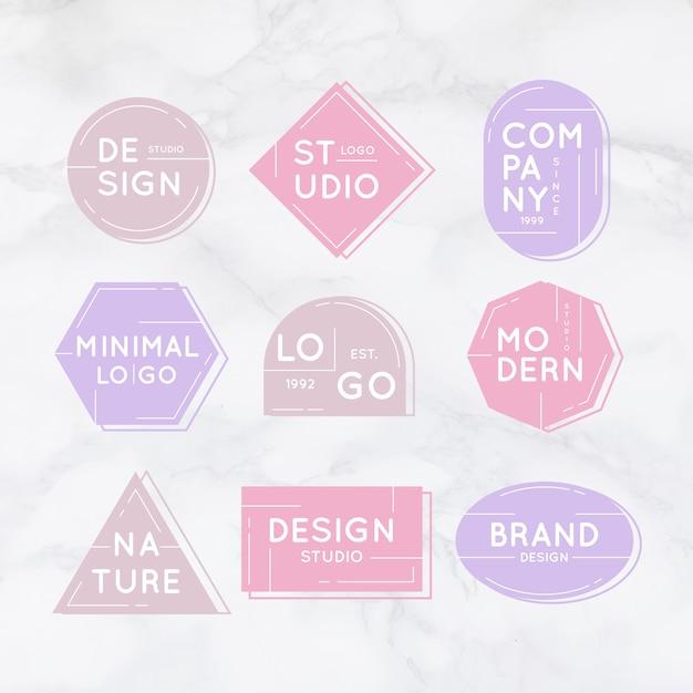 Минимальная коллекция логотипов на мраморном фоне Бесплатные векторы