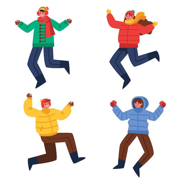 ジャンプの冬の服を着ている若い人たち 無料ベクター