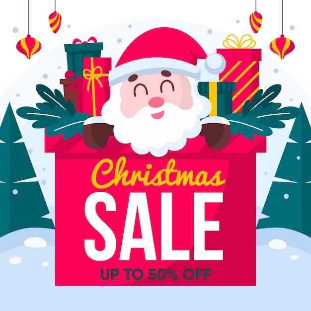 Плоский сезон рождественских распродаж Бесплатные векторы