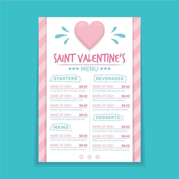 フラットバレンタインの日メニューテンプレート 無料ベクター
