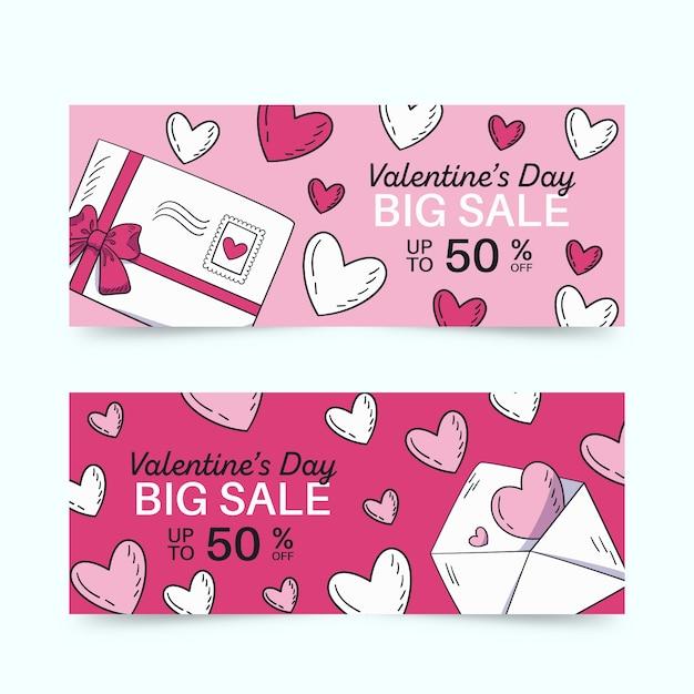 手描きの封筒とバレンタインデーのバナー 無料ベクター