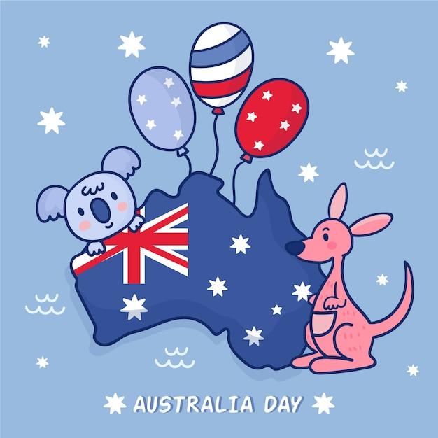 Друзья коалы и кенгуру с воздушными шарами на карте австралии Бесплатные векторы