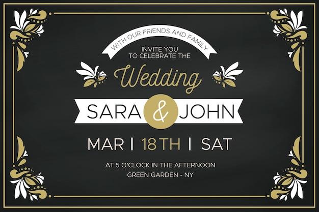 Роскошное свадебное приглашение с золотыми цветочными рамами Бесплатные векторы