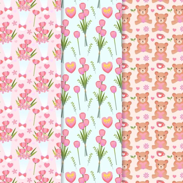 花とテディベアとバレンタインデーのパターン 無料ベクター