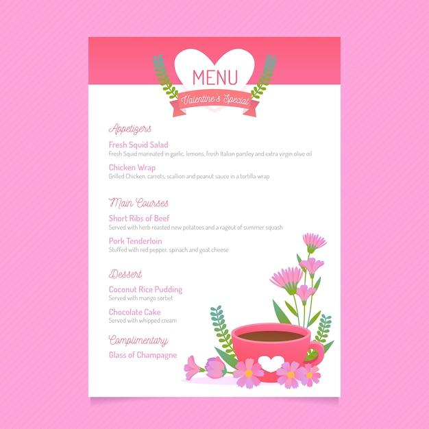 Плоское меню на день святого валентина с цветочной чашкой напитка Бесплатные векторы