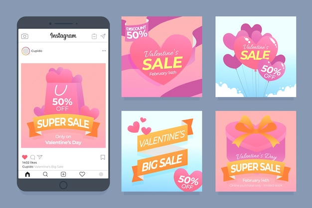 День святого валентина продажа инстаграм пост коллекция Бесплатные векторы