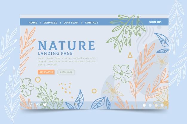 手描きの自然着陸ページテンプレート 無料ベクター