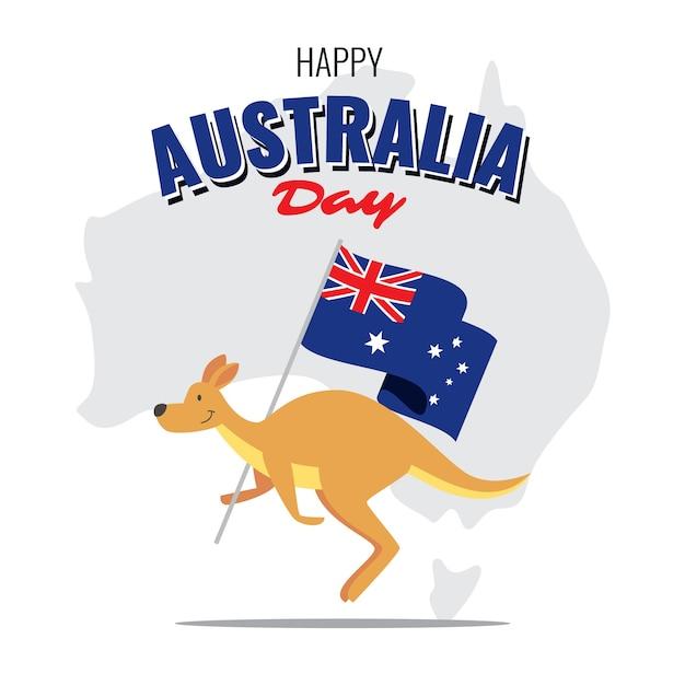 Кенгуру с национальным флагом австралии Бесплатные векторы