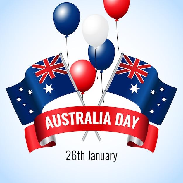 Счастливый день австралии с воздушными шарами и флагами Бесплатные векторы