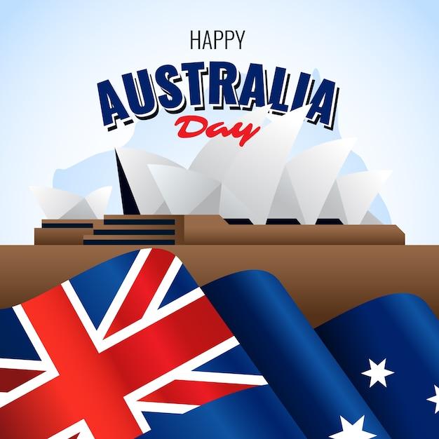リアルなオーストラリアの日とシドニー市 無料ベクター