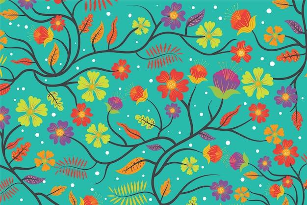 カラフルなエキゾチックな花の青い背景 無料ベクター