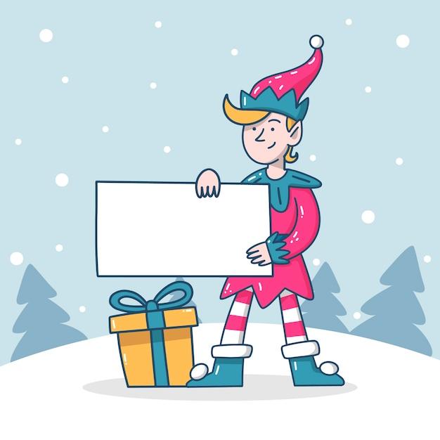 白紙の横断幕を保持しているクリスマス文字 無料ベクター