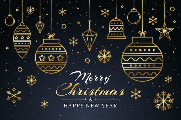 アウトラインスタイルのクリスマス背景コンセプト 無料ベクター