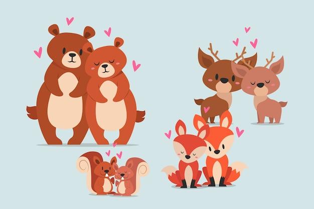 かわいいバレンタインデーの野生動物のカップル 無料ベクター