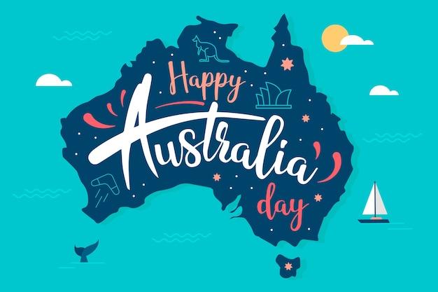 オーストラリアの日のフラットなデザインコンセプト 無料ベクター