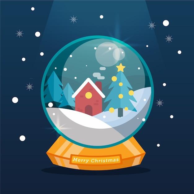 Рождественский снежный шар в плоском дизайне Бесплатные векторы