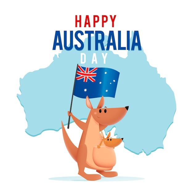 オーストラリアの旗を保持しているポーチで赤ちゃんとカンガルー 無料ベクター