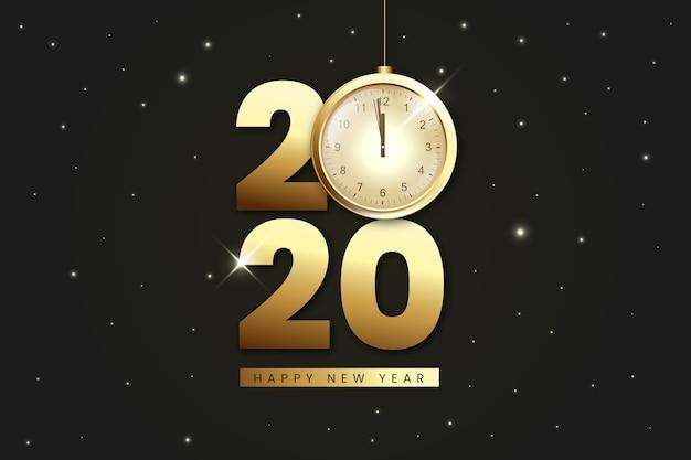Полночь золотые часы реалистичный фон Бесплатные векторы