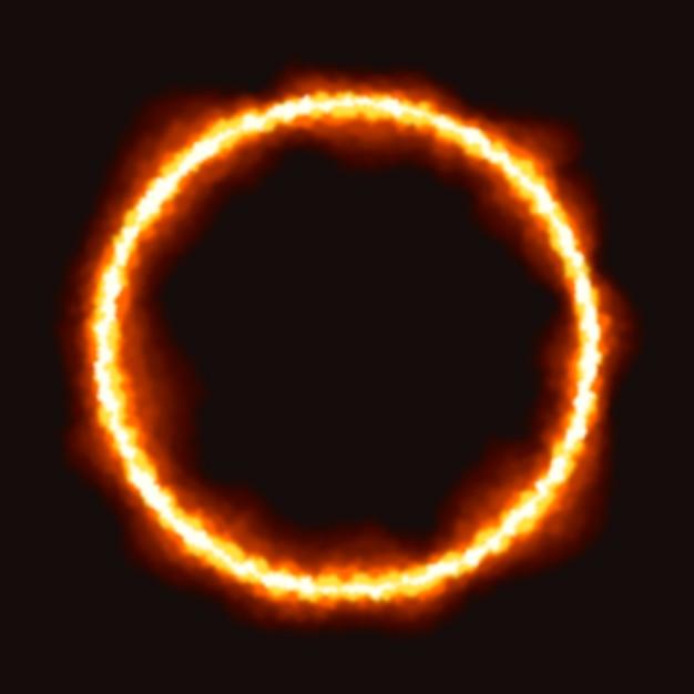 黒の背景を持つ現実的な火リング 無料ベクター
