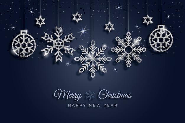 キラキラ効果とクリスマスの背景 無料ベクター