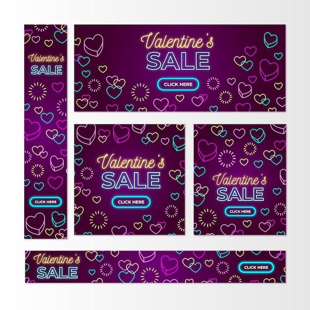 Плоский дизайн валентина продажи баннеров Бесплатные векторы