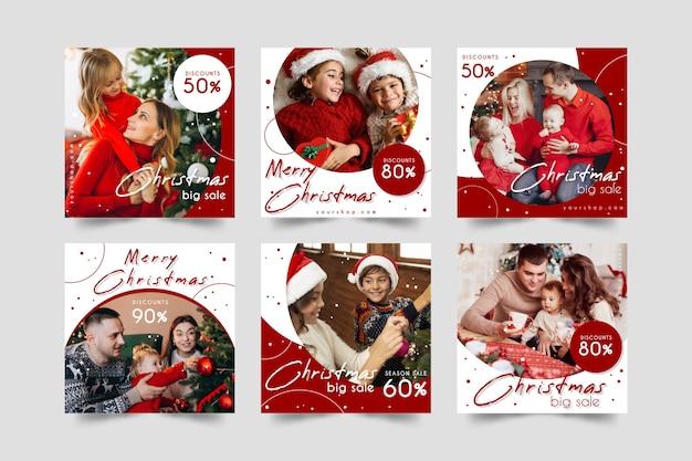 Рождественская распродажа инстаграм пост коллекция Бесплатные векторы