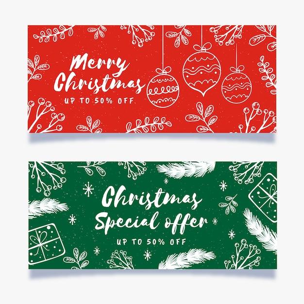 Ручной обращается рождественские продажи баннеров Бесплатные векторы