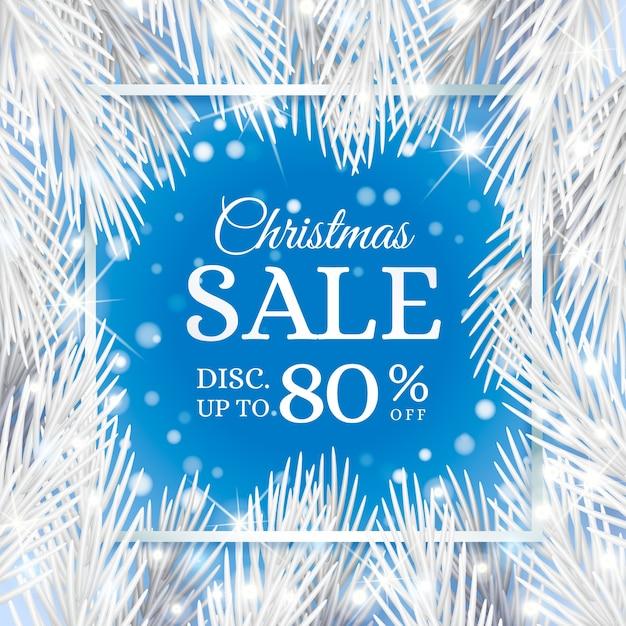 Реалистичные рождественские продажи шаблон Бесплатные векторы