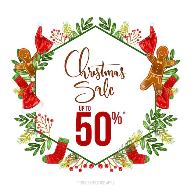 Акварельная рождественская распродажа Бесплатные векторы