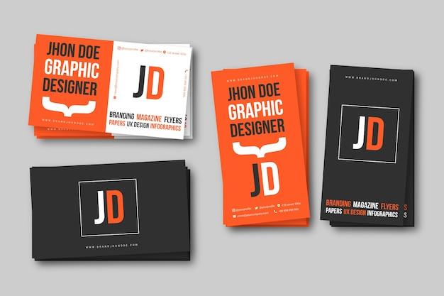 グラフィックデザイナーの名刺テンプレート 無料ベクター