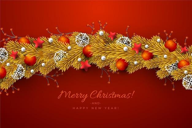 クリスマスツリーの背景色の伝統的な黄金見掛け倒し 無料ベクター